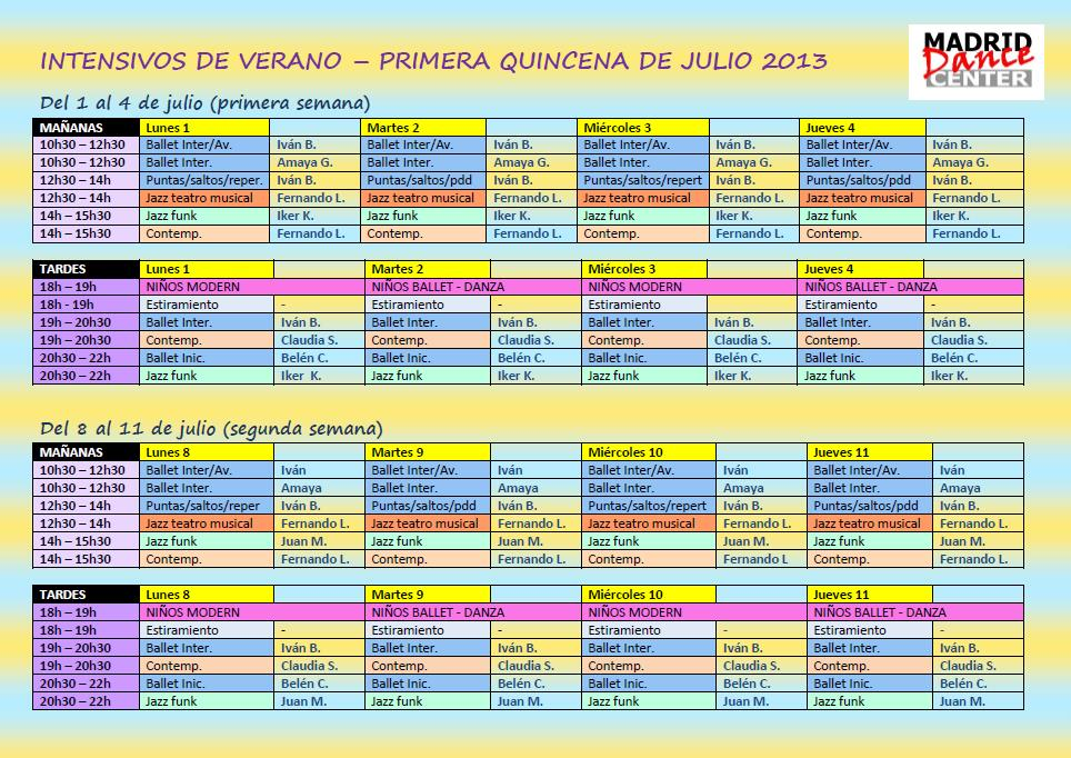 Planning intensivos julio 2013 primera quincena